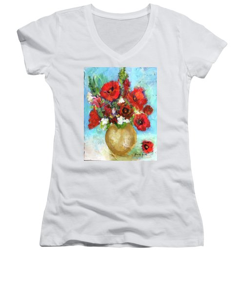 Red Poppies Women's V-Neck (Athletic Fit)