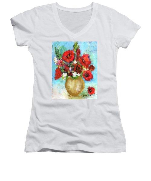 Red Poppies Women's V-Neck T-Shirt