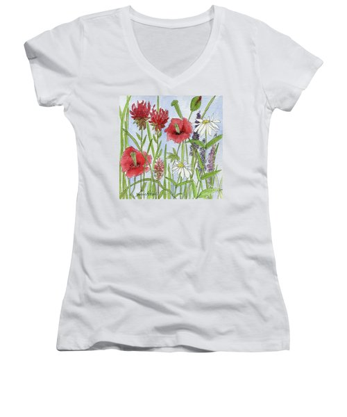 Red Poppies Women's V-Neck
