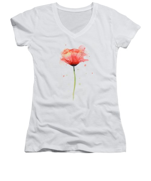 Red Poppy Watercolor Women's V-Neck (Athletic Fit)