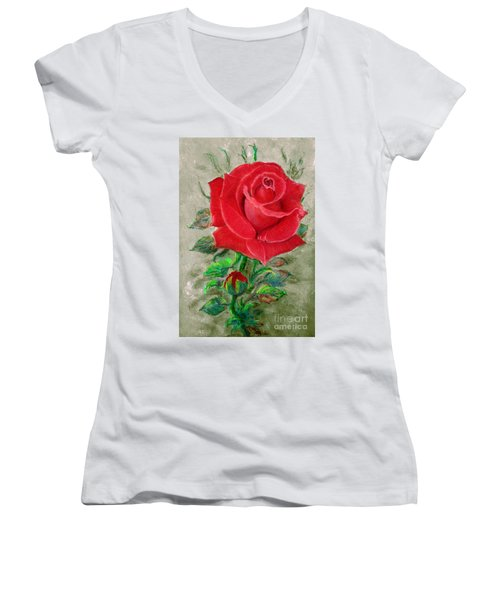 Red Rose Women's V-Neck T-Shirt (Junior Cut) by Jasna Dragun