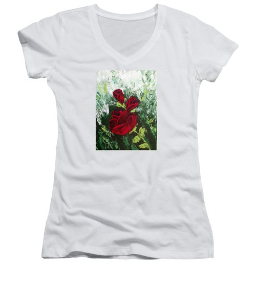 Red Roses In Bloom Women's V-Neck T-Shirt (Junior Cut) by Roxy Rich