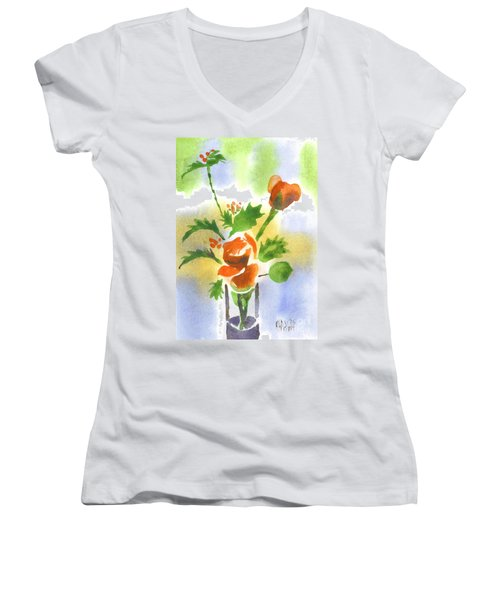Women's V-Neck T-Shirt (Junior Cut) featuring the painting Red Roses With Holly by Kip DeVore
