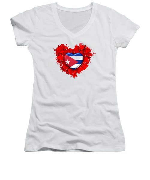 Red Stain Love To Cuba Women's V-Neck