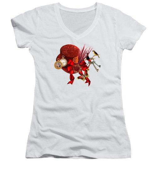 Red Steampunk Top Hat Art Women's V-Neck T-Shirt