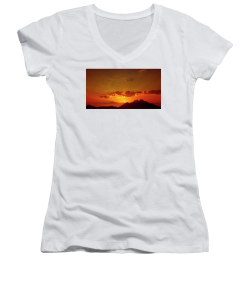 Red Sunset In Africa 2 Women's V-Neck