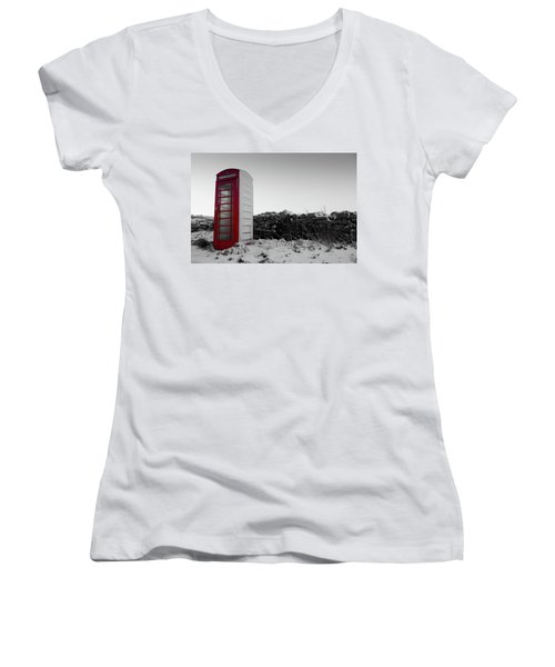 Red Telephone Box In The Snow Vi Women's V-Neck (Athletic Fit)
