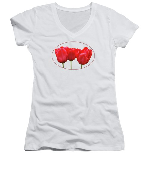 Red Tulip Triple On White Women's V-Neck (Athletic Fit)