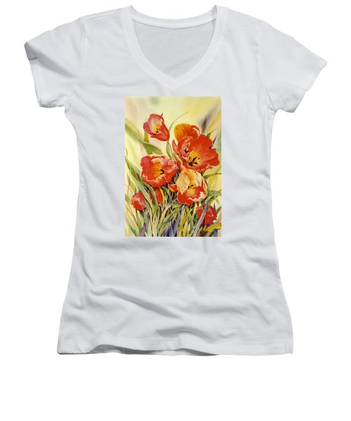 Red Tulips In My Garden Women's V-Neck T-Shirt