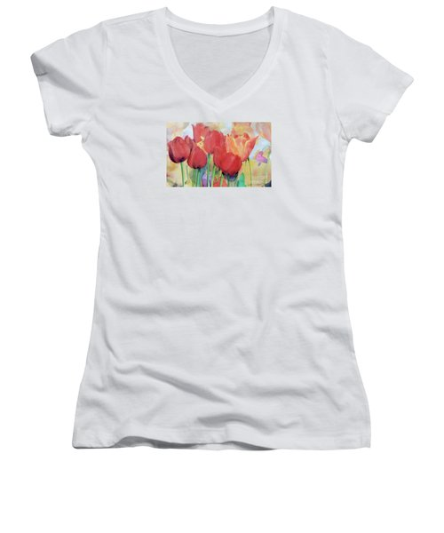 Red Tulips In Spring Women's V-Neck T-Shirt (Junior Cut) by Greta Corens