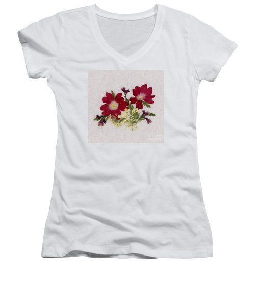 Red Verbena Pressed Flower Arrangement Women's V-Neck