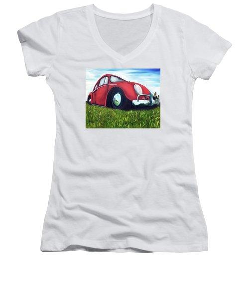 Red Vw Women's V-Neck T-Shirt