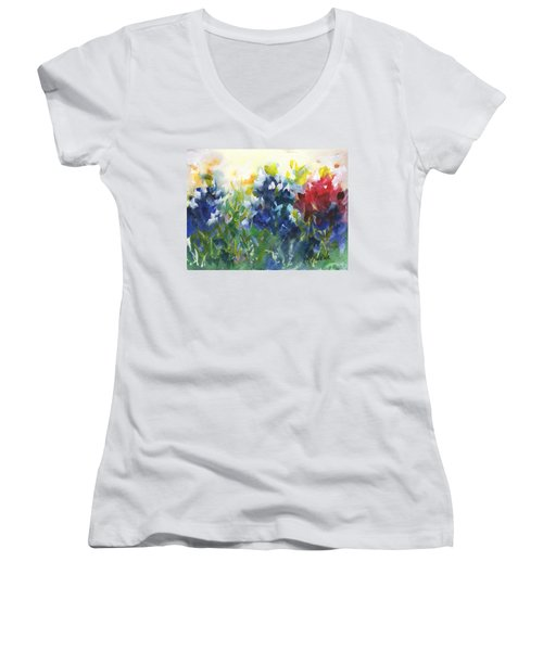 Red White And Bluebonnets Watercolor Painting By Kmcelwaine Women's V-Neck T-Shirt (Junior Cut) by Kathleen McElwaine