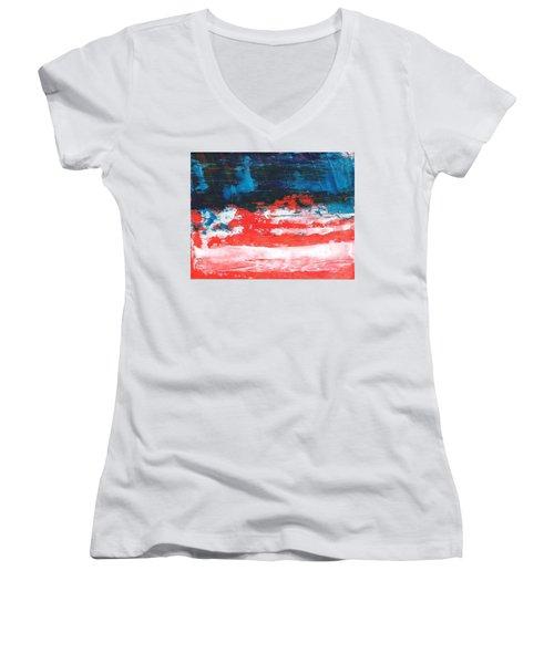 Red White Blue Scene Women's V-Neck (Athletic Fit)