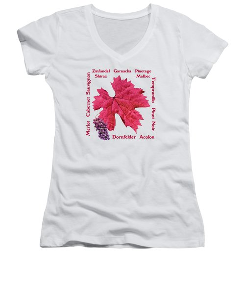 Red Wines Lettering Women's V-Neck (Athletic Fit)
