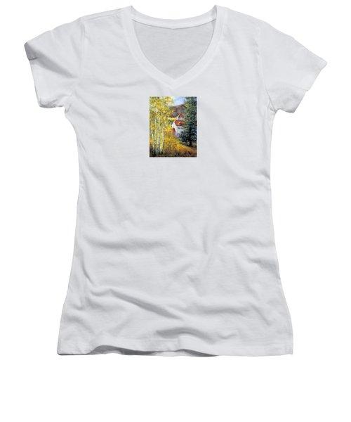 Redstone Inn Women's V-Neck T-Shirt (Junior Cut)