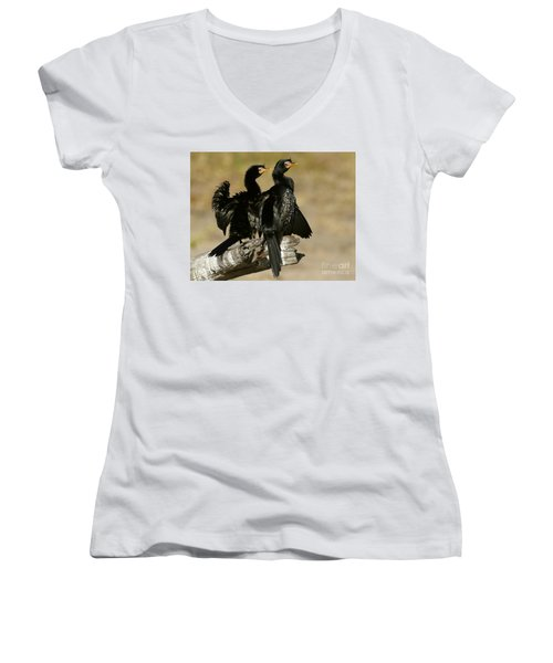 Women's V-Neck T-Shirt (Junior Cut) featuring the photograph Reed Cormorants by Myrna Bradshaw