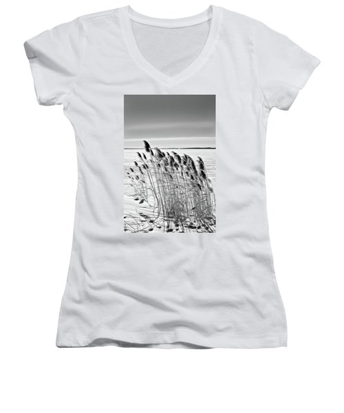 Reeds On A Frozen Lake Women's V-Neck