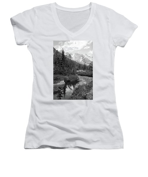Reflected Pine Women's V-Neck (Athletic Fit)