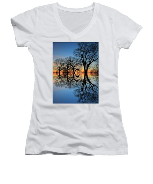 Women's V-Neck T-Shirt (Junior Cut) featuring the photograph Reflecting On Tonight by Chris Berry