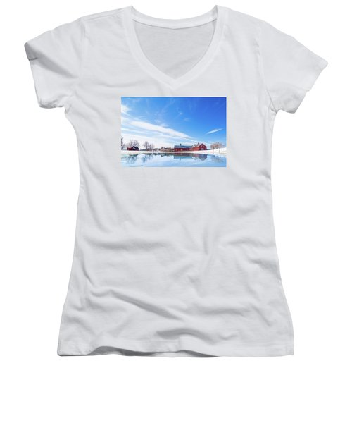 Reflection Of A Barn In Winter Women's V-Neck (Athletic Fit)