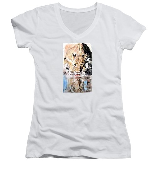 Women's V-Neck T-Shirt (Junior Cut) featuring the drawing Reflection Of A Lioness Drinking From A Watering Hole by Jim Fitzpatrick