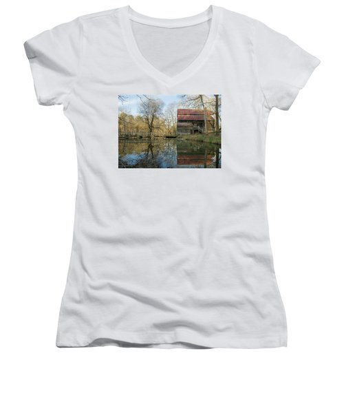 Reflection On A Grist Mill Women's V-Neck T-Shirt (Junior Cut) by George Randy Bass