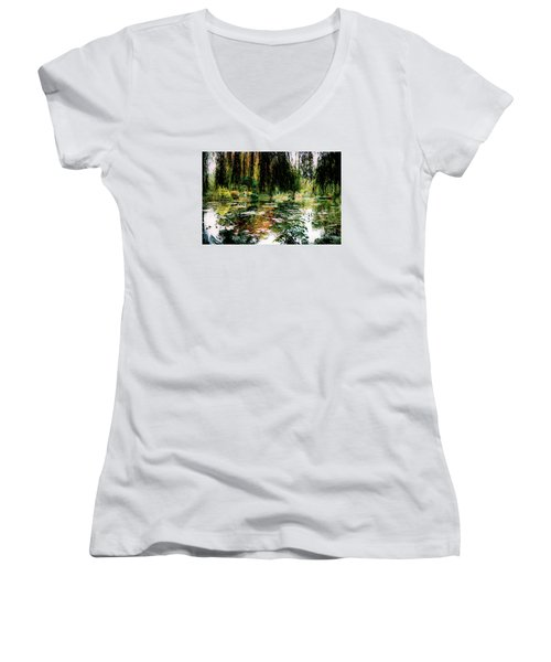 Reflection On Oscar - Claude Monet's Garden Pond Women's V-Neck