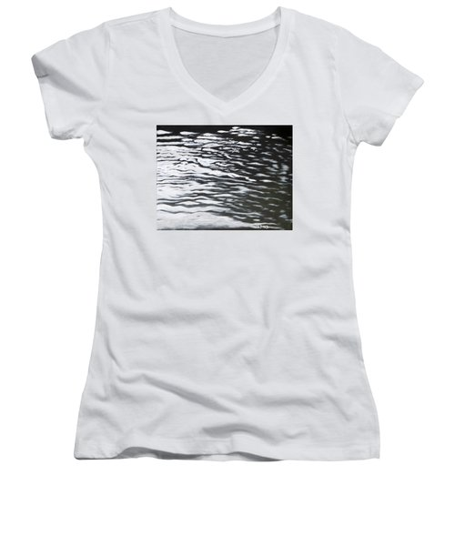 Women's V-Neck T-Shirt (Junior Cut) featuring the painting Reflections by Antonio Romero