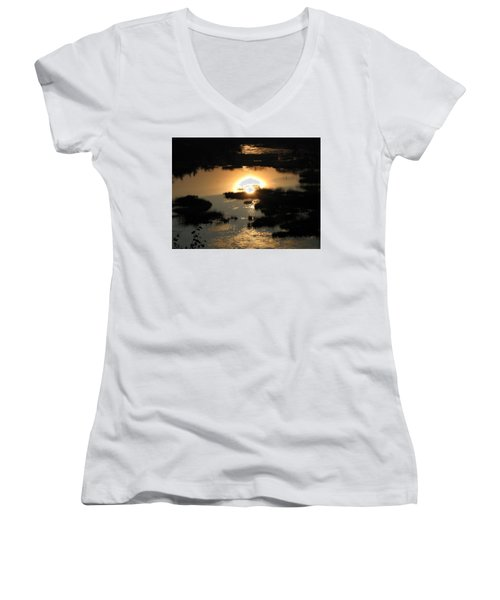 Reflections At Sunset Women's V-Neck T-Shirt (Junior Cut) by Barbara Yearty