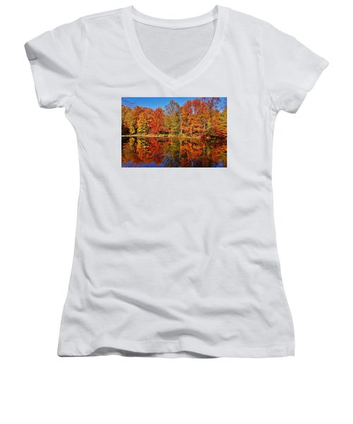 Reflections In Autumn Women's V-Neck T-Shirt (Junior Cut) by Ed Sweeney