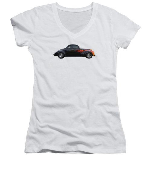 Reflections Of A 1940 Ford Deluxe Hot Rod With Flames Women's V-Neck T-Shirt (Junior Cut) by Gill Billington