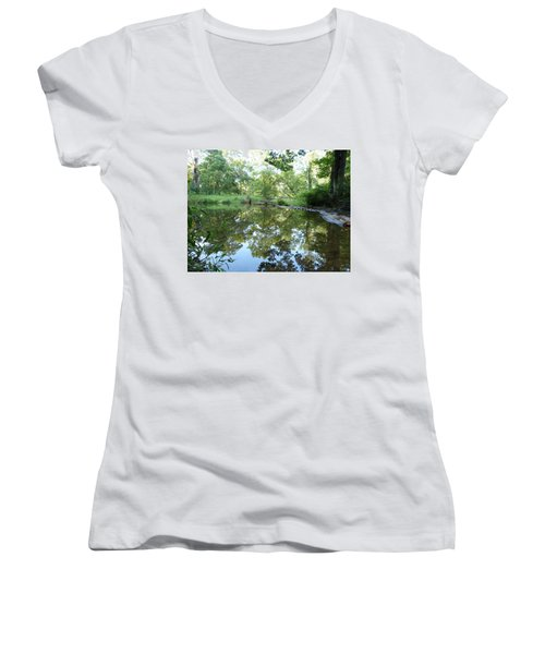 Women's V-Neck T-Shirt (Junior Cut) featuring the photograph Reflections Of Beetree Run by Donald C Morgan