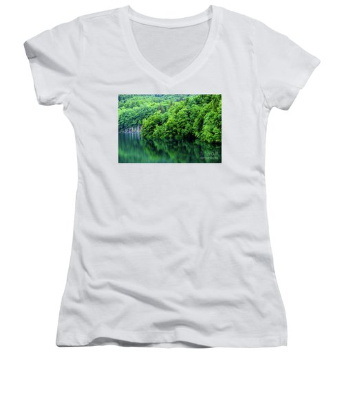 Reflections Of Plitvice, Plitvice Lakes National Park, Croatia Women's V-Neck