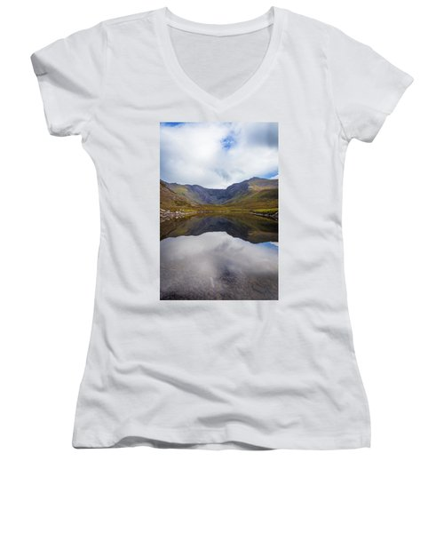 Women's V-Neck T-Shirt (Junior Cut) featuring the photograph Reflections Of The Macgillycuddy's Reeks In Lough Eagher by Semmick Photo