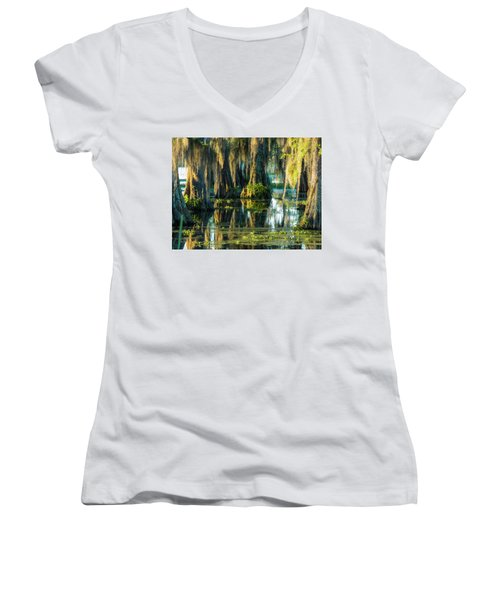 Reflections Of The Times Women's V-Neck T-Shirt (Junior Cut) by Kimo Fernandez