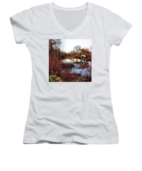 Women's V-Neck T-Shirt (Junior Cut) featuring the photograph Reflections On A Winter Day - Central Park by Madeline Ellis