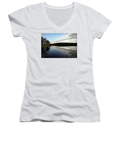 Women's V-Neck T-Shirt (Junior Cut) featuring the photograph Reflections On The Lake by Chris Berry