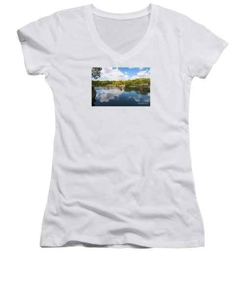 Women's V-Neck T-Shirt (Junior Cut) featuring the photograph Reflections by Pravine Chester