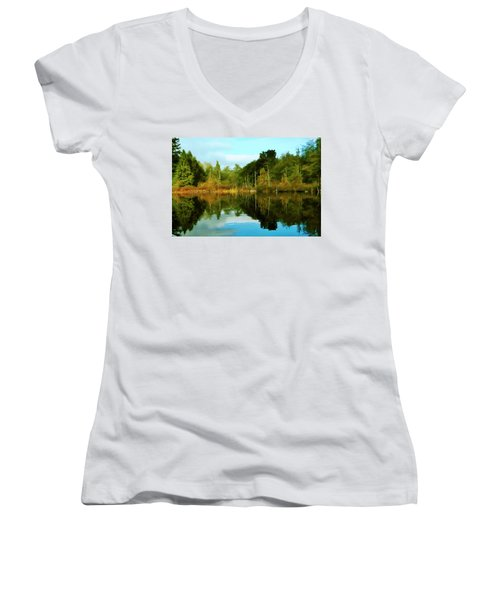 Women's V-Neck T-Shirt (Junior Cut) featuring the digital art Reflections by Timothy Hack