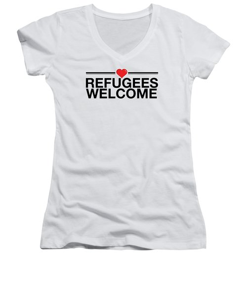 Refugees Wecome Women's V-Neck T-Shirt (Junior Cut) by Greg Slocum