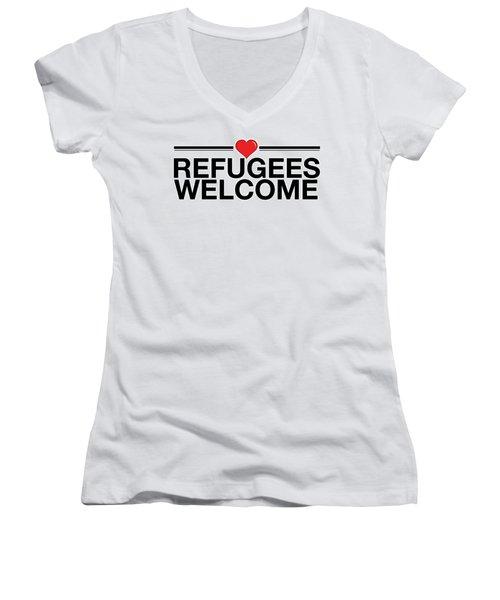Refugees Wecome Women's V-Neck T-Shirt