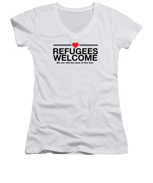 Refugees Welcome Women's V-Neck T-Shirt (Junior Cut) by Greg Slocum