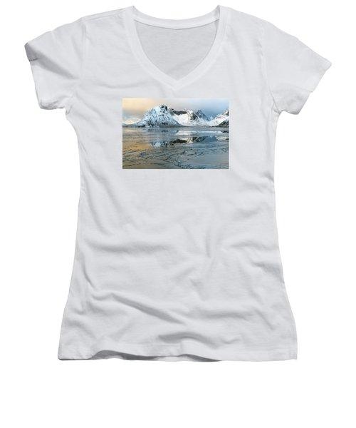 Reine, Lofoten 5 Women's V-Neck T-Shirt (Junior Cut) by Dubi Roman