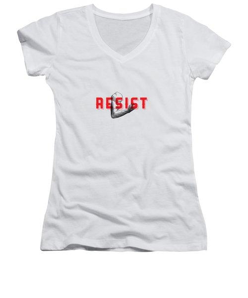 Women's V-Neck T-Shirt (Junior Cut) featuring the photograph Reisist Arm Tee by Edward Fielding