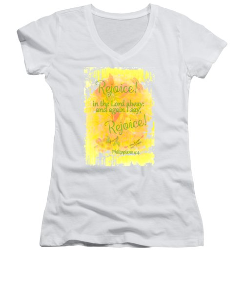 Rejoice Women's V-Neck T-Shirt (Junior Cut) by Larry Bishop