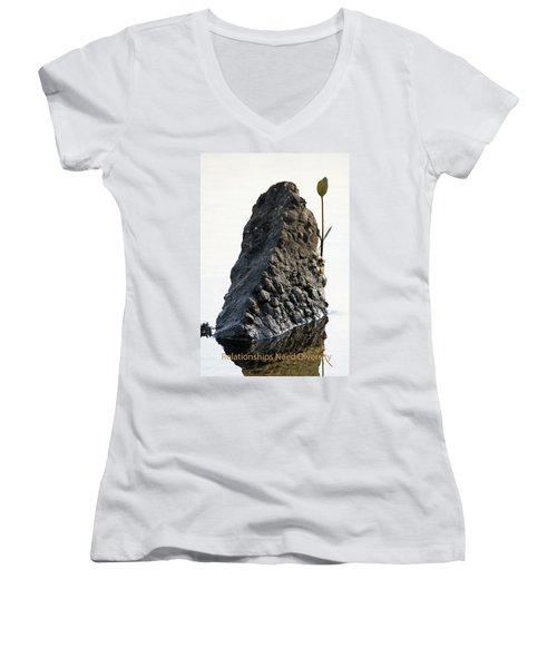 Relationships Need Diversity Women's V-Neck T-Shirt (Junior Cut) by Lamarre Labadie