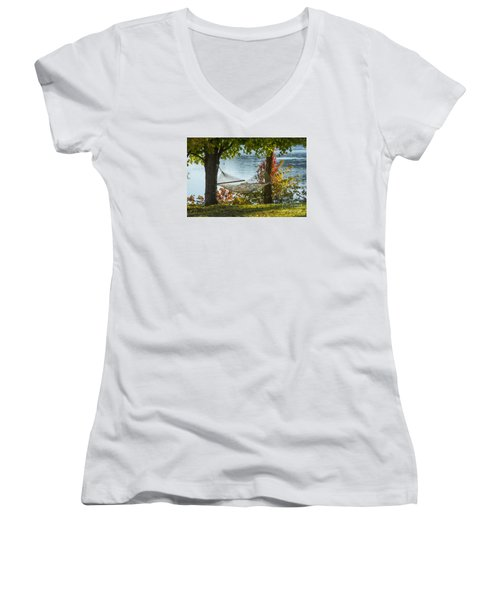Relax By The Water Women's V-Neck T-Shirt (Junior Cut) by Alana Ranney