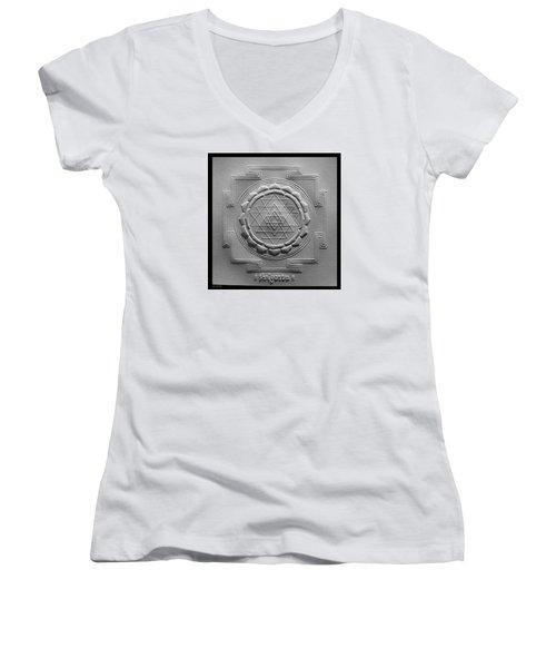 Relief Shree Yantra Women's V-Neck T-Shirt (Junior Cut) by Suhas Tavkar