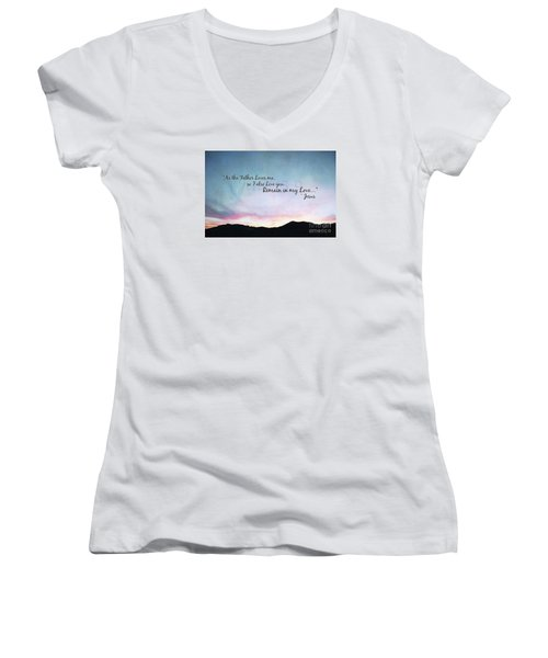 Remain In My Love - Digital Paint Effect Women's V-Neck T-Shirt (Junior Cut) by Sharon Soberon